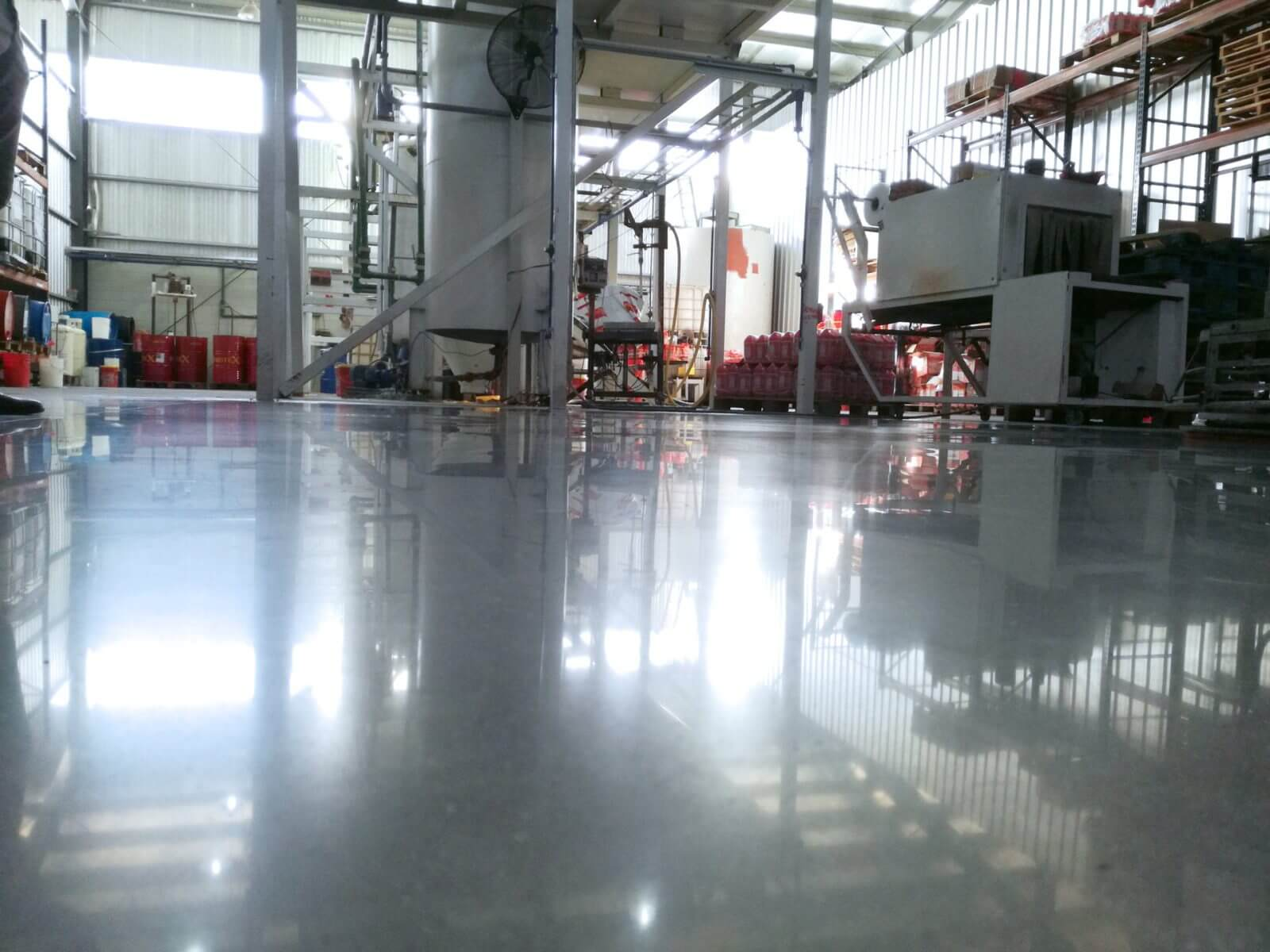 High gloss concrete floor