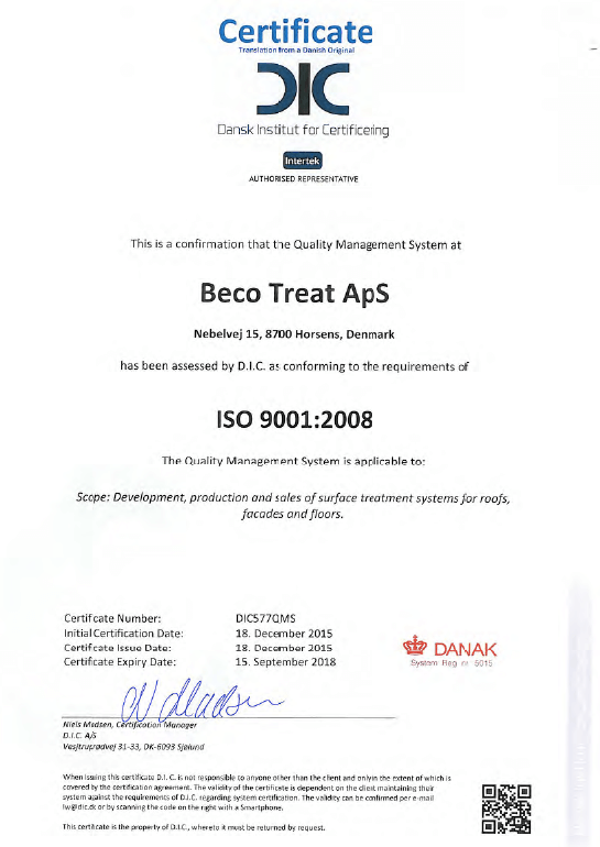 beco treat aps iso9001:2008