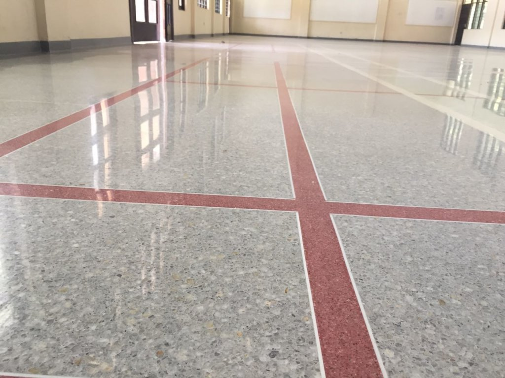concrete floor colour red