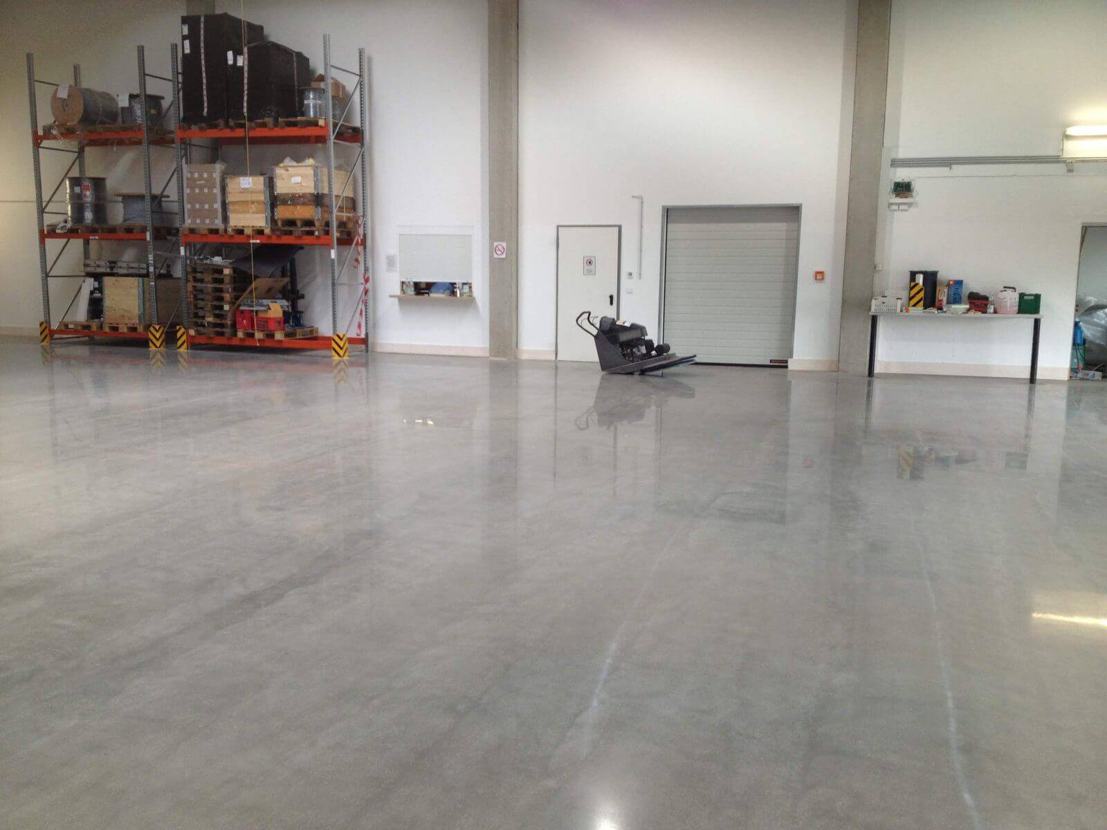 warehouse with concrete finish floor