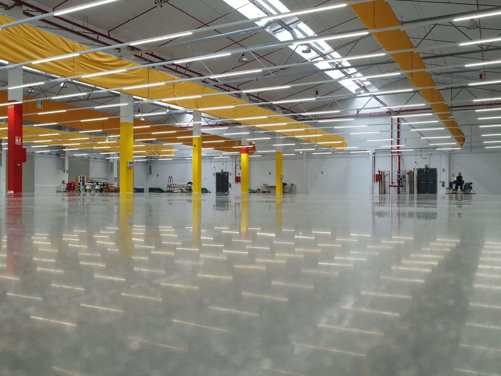 warehouse with shiny concrete