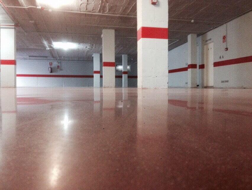 red concrete in garage