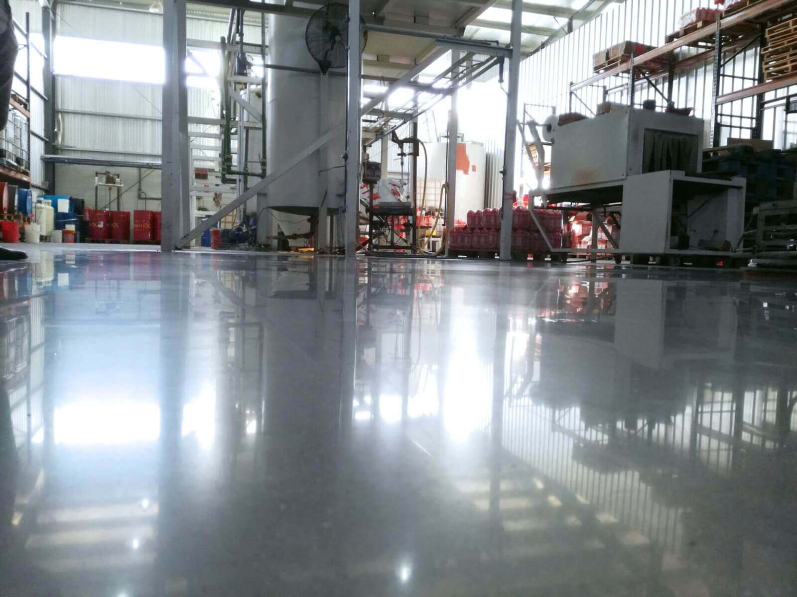 black concrete floor