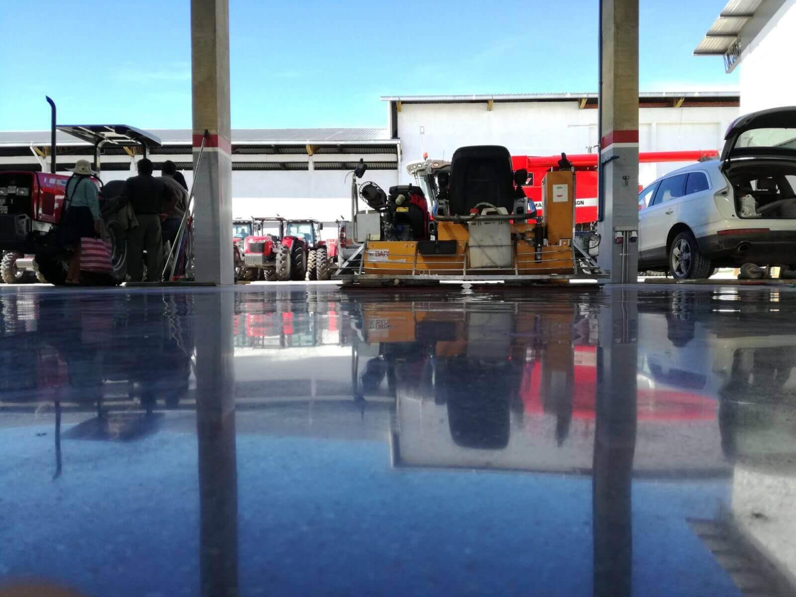 trowel machine on finish concrete floor