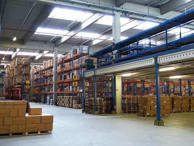 Warehouse with industrial shelves