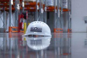 becosan helmet on finished concrete floor