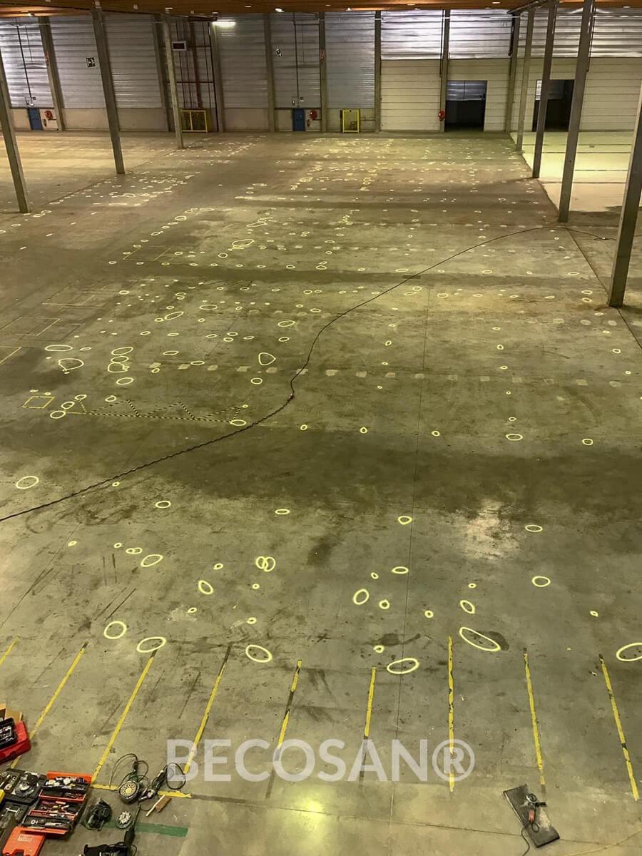 Remodelação do chão de betão do armazém