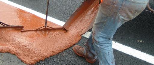 Applying Slurry flooring.