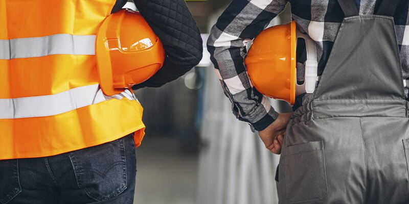 Expert workers with hard hats