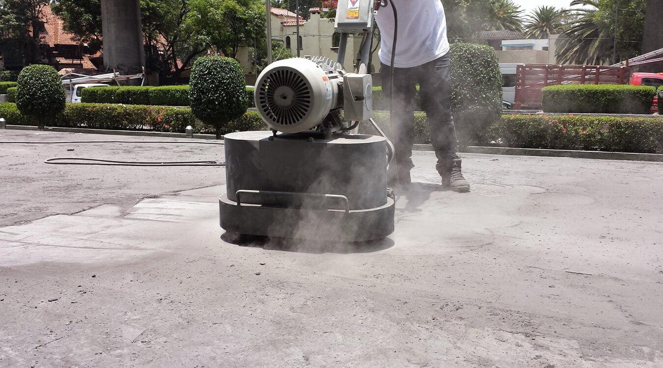 Dry polishing concrete