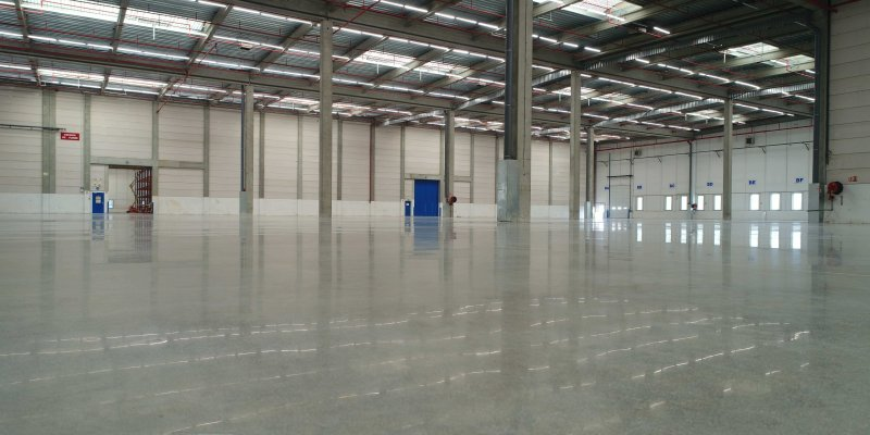 warehouse empty with new renovated concrete floor