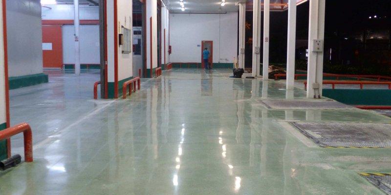 renovation green concrete floor